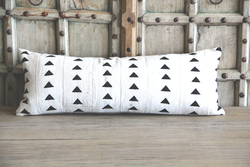 Ethnic Style Black & White Down Filled Lumbar Pillow