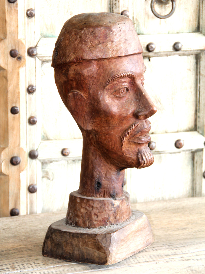 Large Wooden Head of a Man