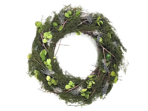 Spring Green Grass and Leaf Wreath