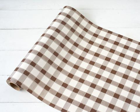 Brown and White Check Paper Runner
