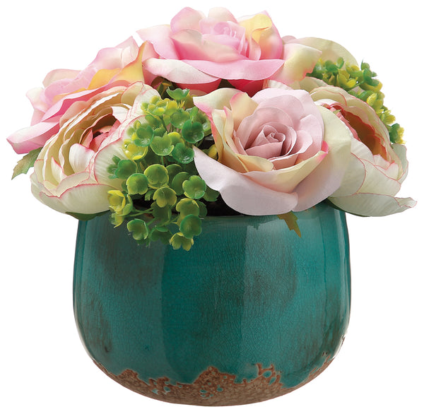 Rose and Hydrangea Arrangement in Pot