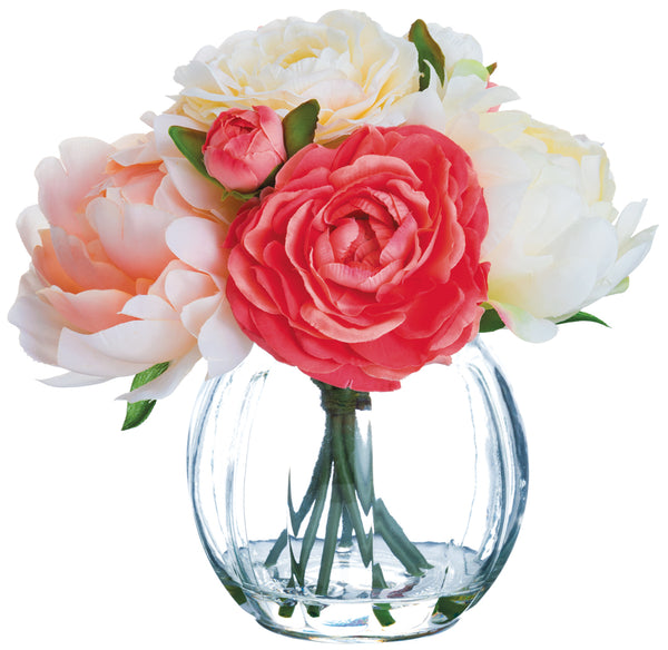 Peony and Ranunculus Arrangement in Vase