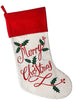 Embroidered Linen Merry Christmas Stocking