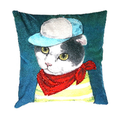 Embroidered Cat Pillow
