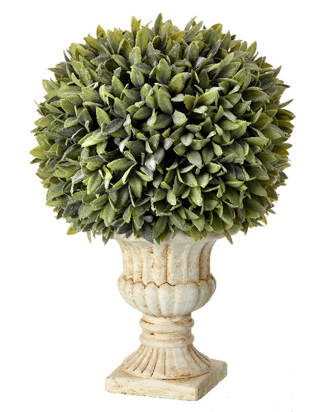 Flocked Sage Ball in Urn