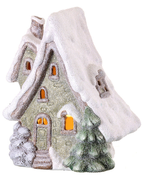 Lit Ice Garden Christmas Cottage