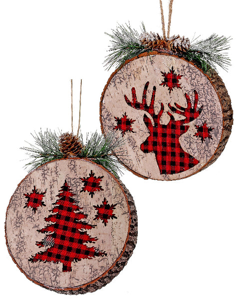 Faux Wood Check Ornament