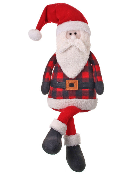 Stuffed Santa in Red and Black Buffalo Check