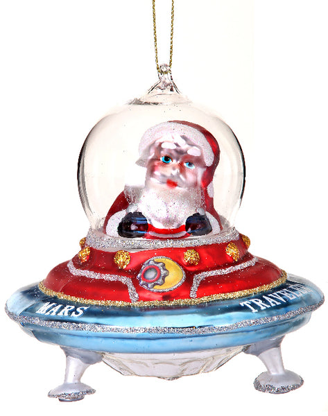 Santa in Flying Saucer Ornament