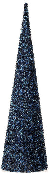 Midnight Blue Beaded Sequined Cone Trees