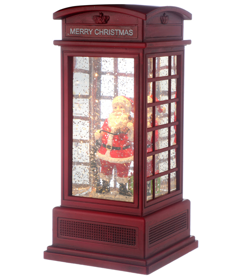 LED Santa In Phone Booth Water Globe
