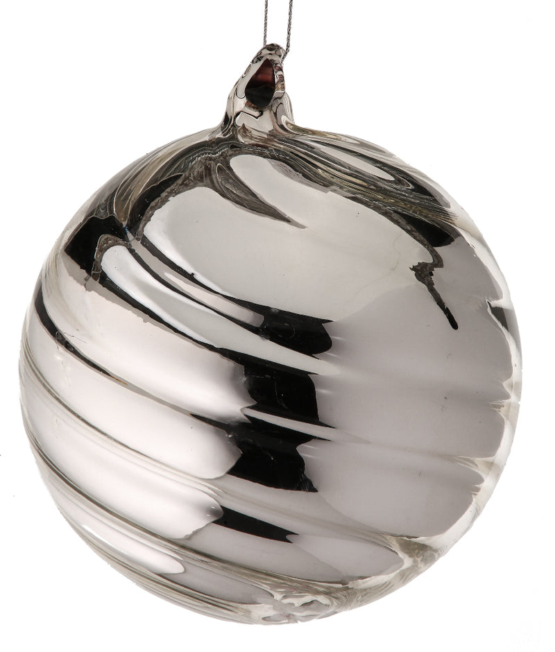 Heavy Clear Iridescent Ball Ornament