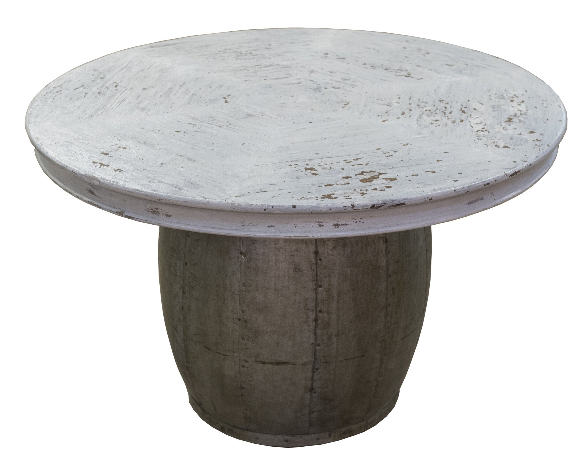 Wood Drum Side Table   Paul Michael Company