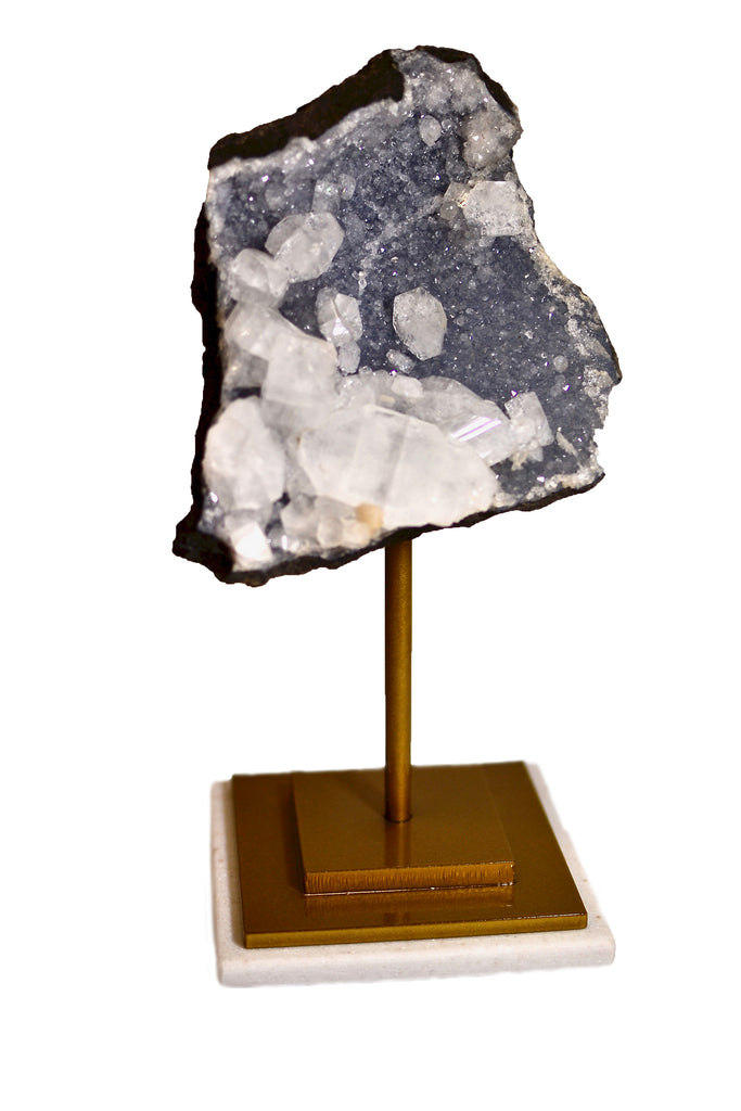 Mounted Mineral Cluster in Gold Stand 11x4.5in