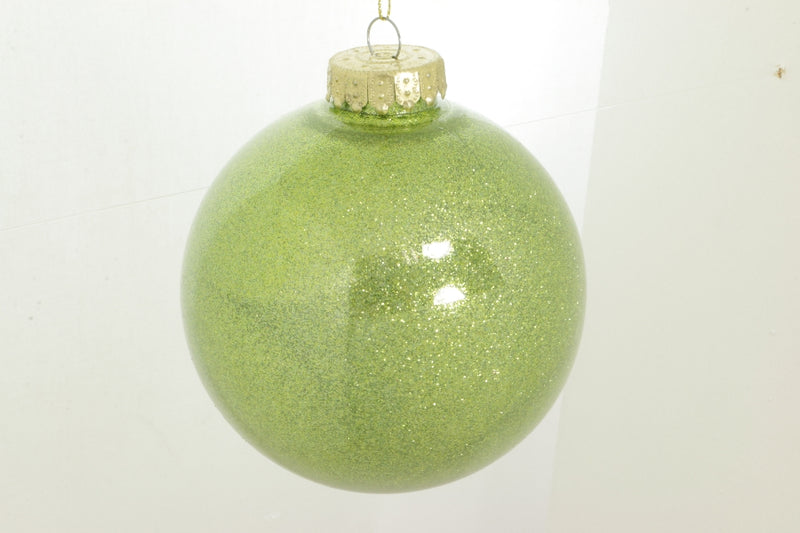Box of Two Apple Green Glitter Ball Ornament