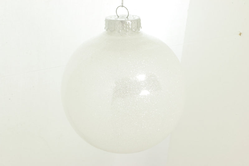 Box of Three White Glitter Ball Ornament