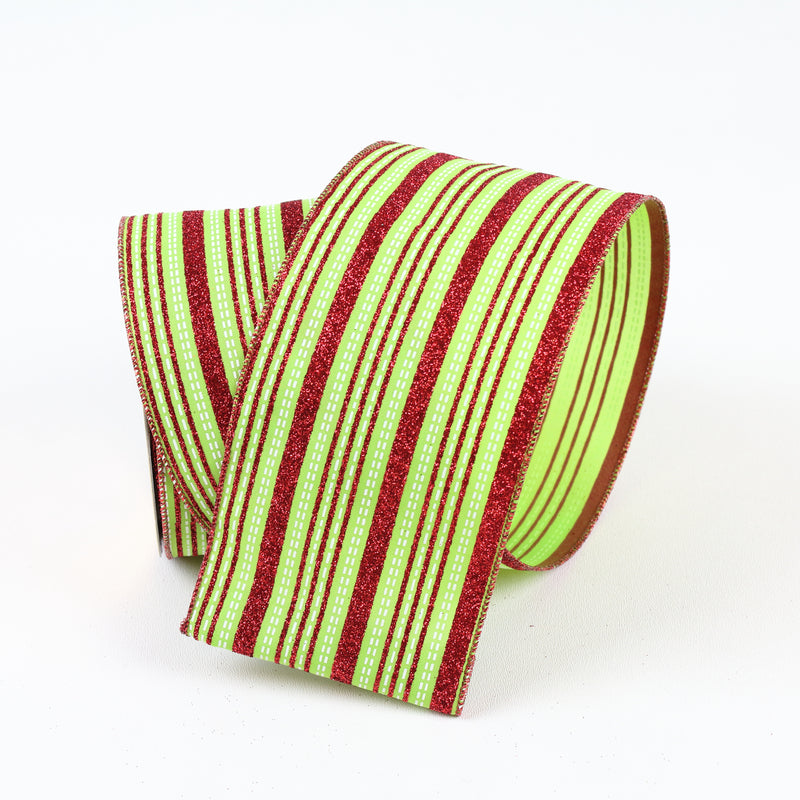 Red & Lime Striped Ribbon