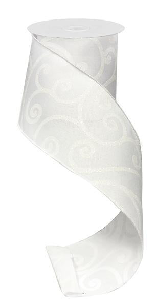 Glitter White Scroll Ribbon