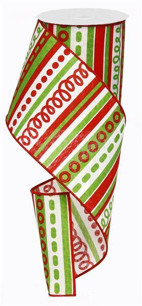 Red Green and White Stripe and Swirl Christmas Ribbon