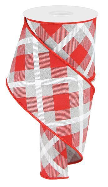 Red Grey and White Plaid Ribbon