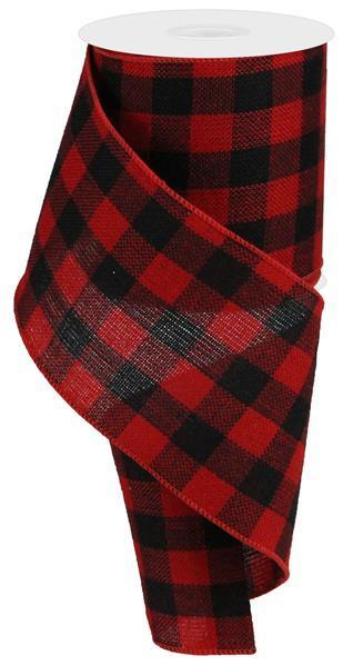 Red and Black Flannel Check Ribbon