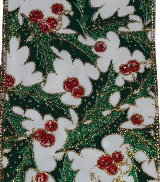 Velvet Holly Christmas Ribbon