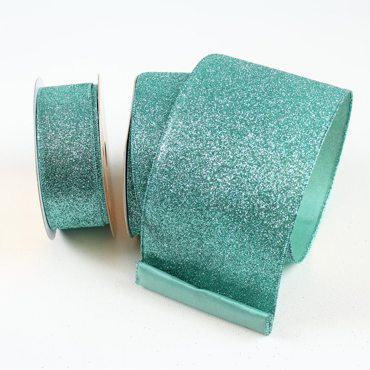 Teal Diamond Glitter Ribbon