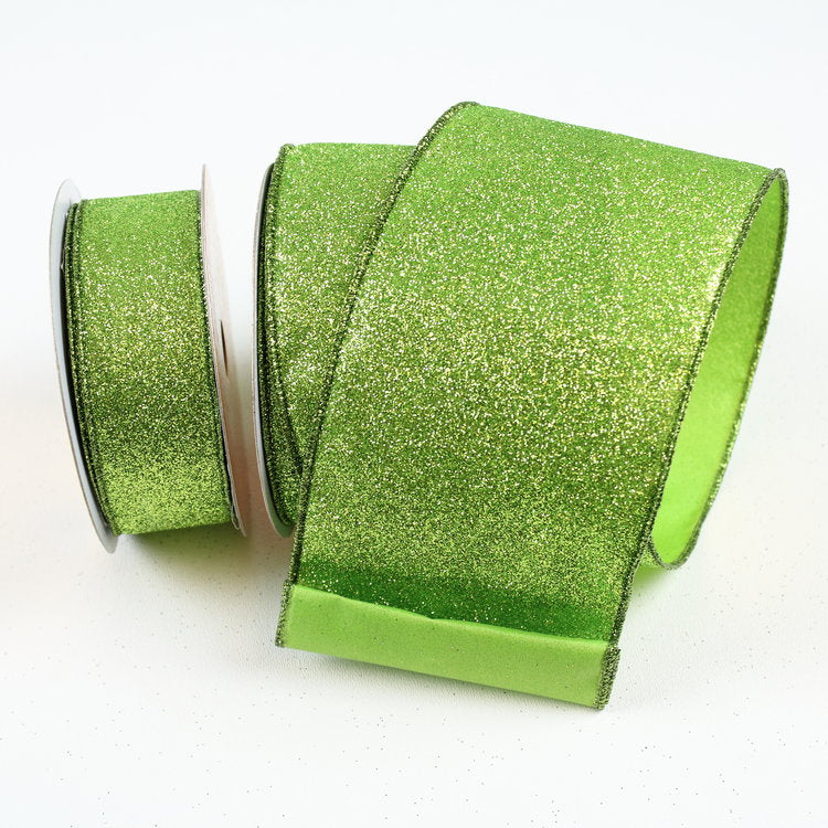 Lime Diamond Glitter Ribbon