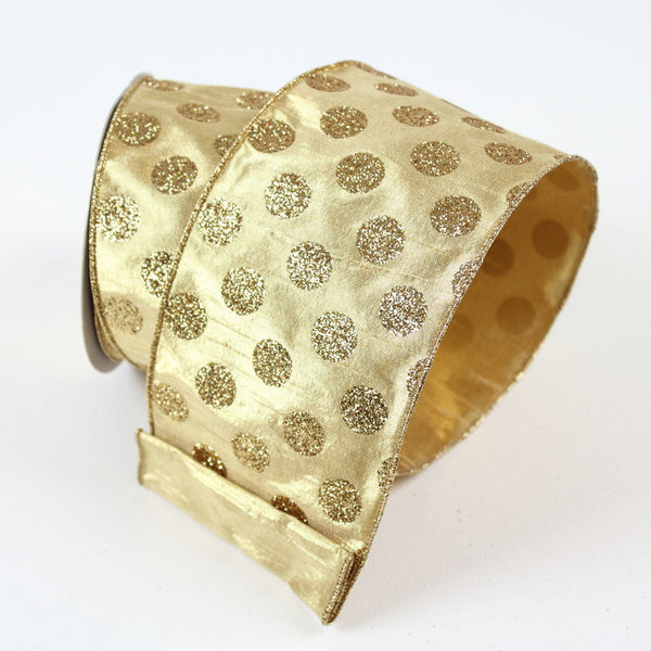 Gold Glitter Polka Dot Ribbon