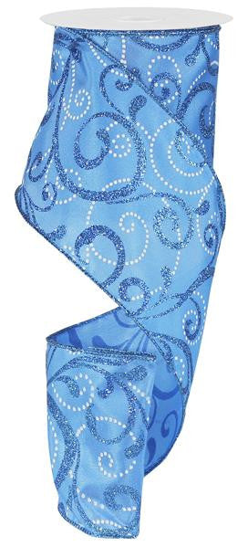 Blue Glitter Swirl Dot Ribbon - Paul Michael Company
