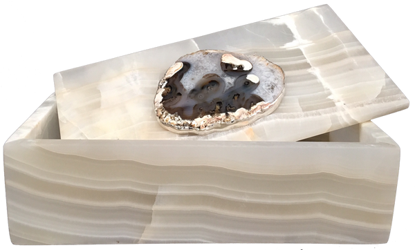 Large Handmade Onyx Box with Agate