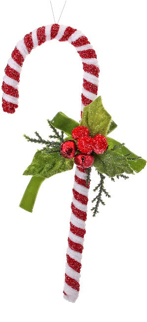 Mistletoe Frosted Chenille Candy Cane Ornament