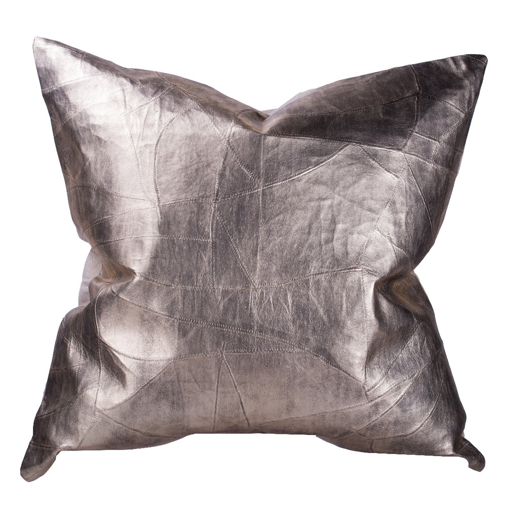 Metallic Leather Throw Pillow