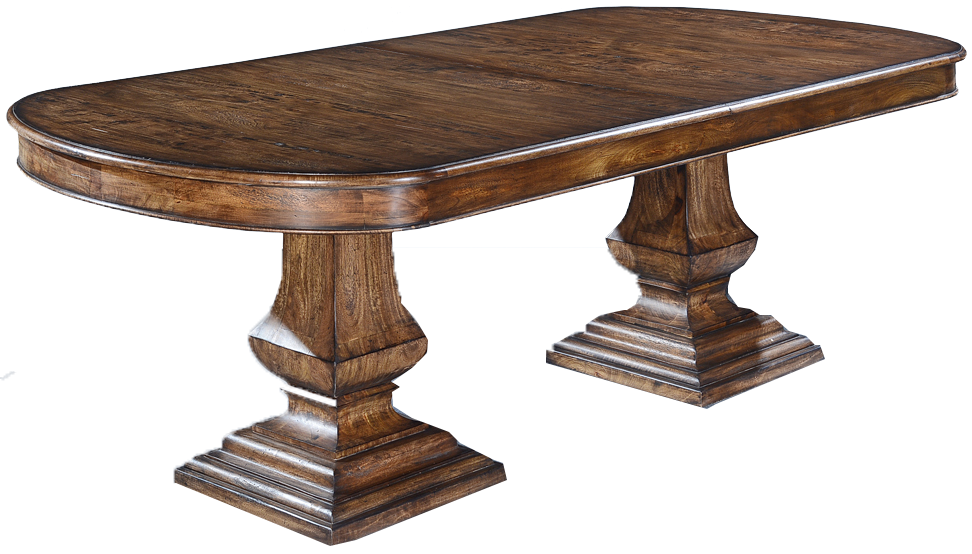Rustic Pecan Oval Pedestal Dining Table with Butterfly Leaf