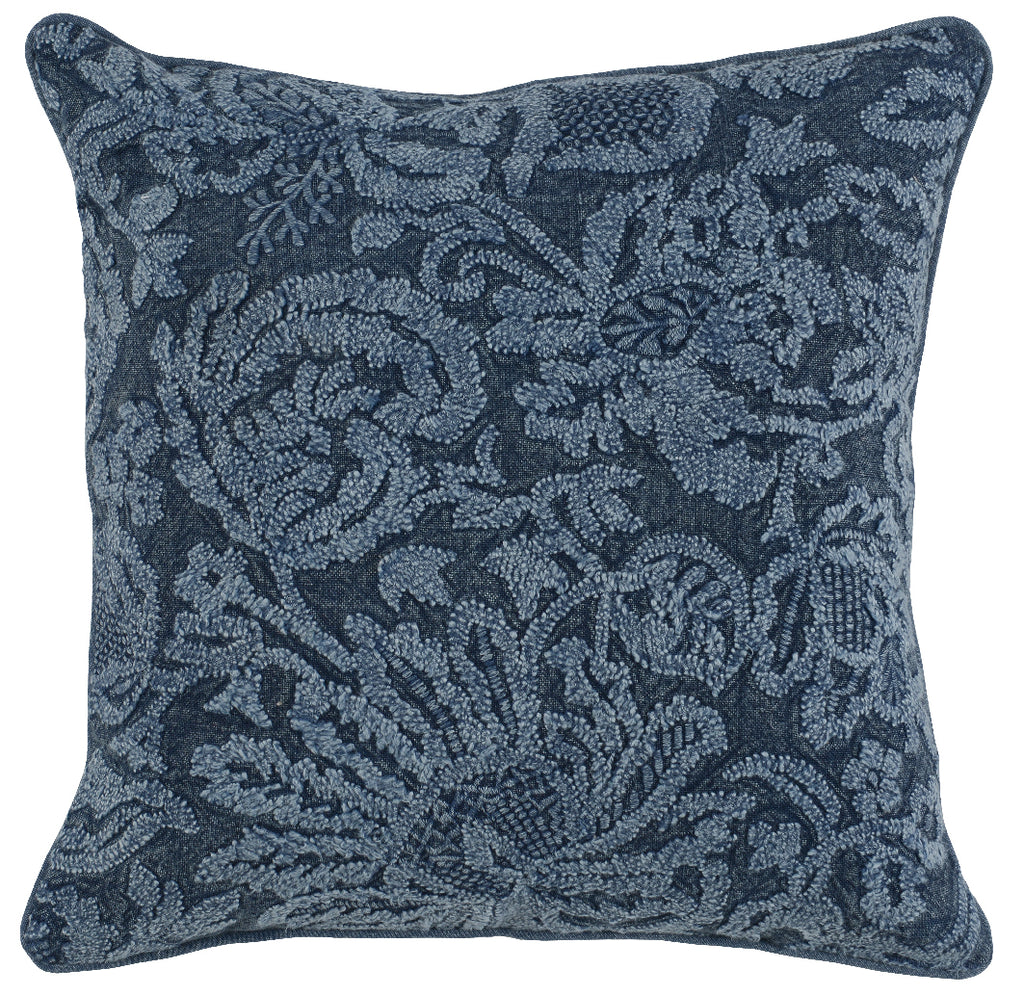 Dahllia Indigo Throw Pillow