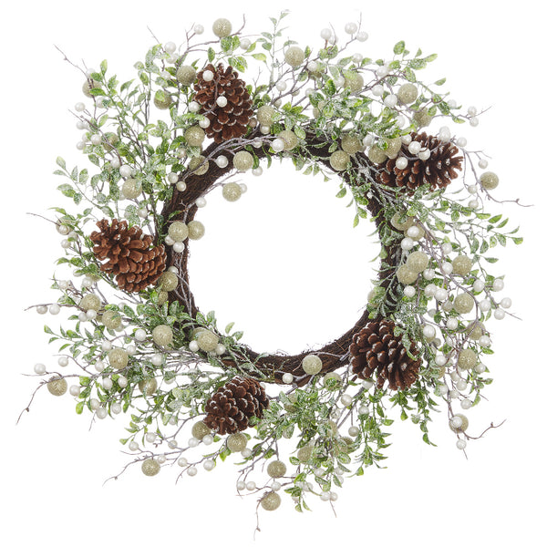 Natural Pinecone and Pearl Frosted Wreath