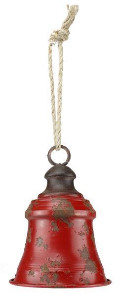 Red Metal Bell on Rope Ornament