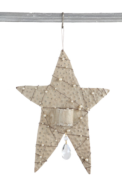 Metal Star with Pearls Ornament