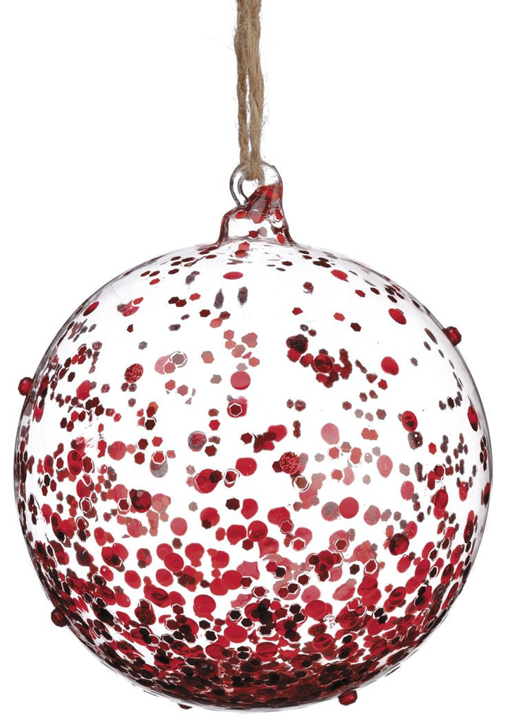 Glass Ornament with Red Sequins