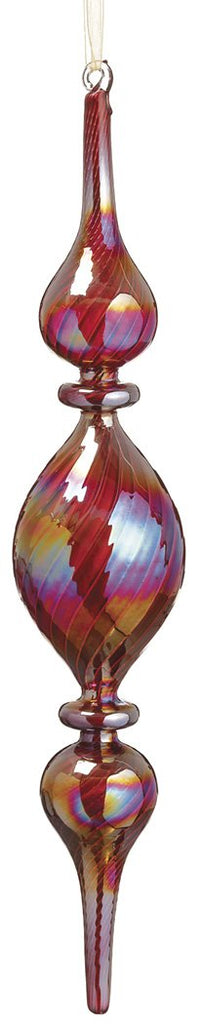 Multi-Colored Glass Swirl Finial Ornament