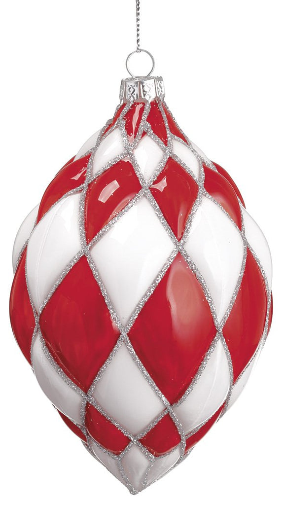 Red and White Glass Harlequin Finial Ornament