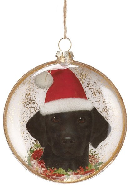 Christmas Labrador Glass Ornament