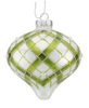 Green and White Glass Plaid Ornament