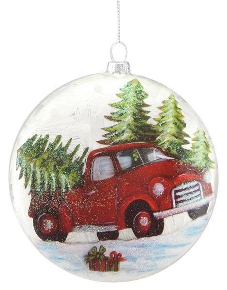 Disc Red Truck Ornament