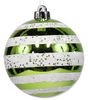 Lime & White Striped Christmas Ornament
