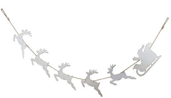 Santa in Sleigh with Reindeer Tin Garland