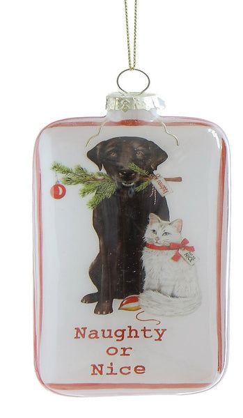Labrador and Cat Naughty or Nice Ornament