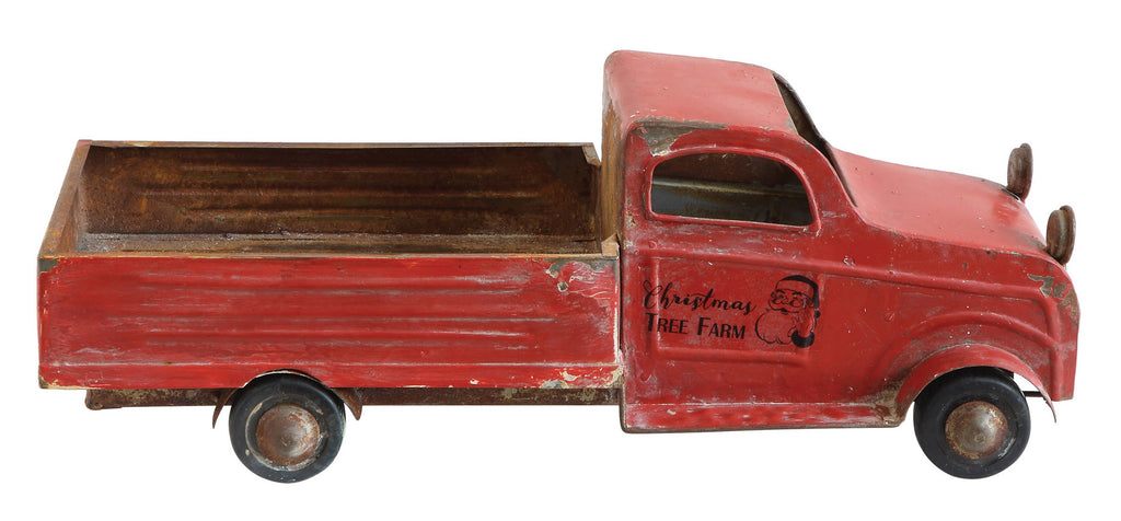 Christmas Tree Farm Red Tin Pickup Truck
