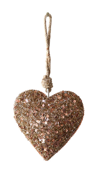 Heart with Sequins Christmas Ornament