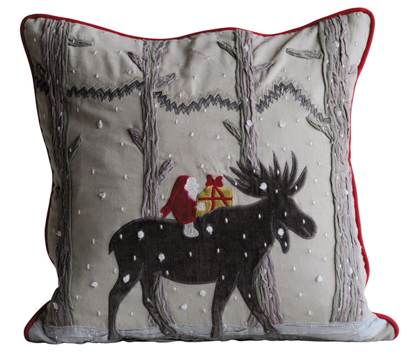 Winter Moose Christmas Pillow